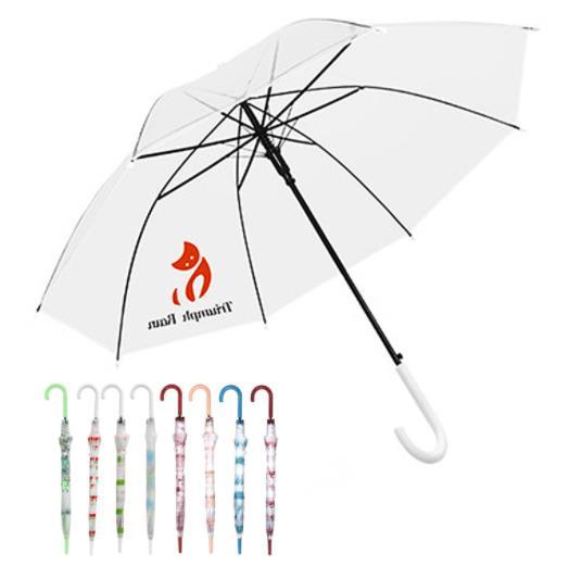 透明雨伞 PVC环保透明伞长柄定做